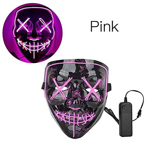 jinclonder Halloween LED Light up Mask, Purge Mask Glow Wire Light Up Grin Festival Parties Máscara para Halloween Disfraces de Cosplay Fiestas de Disfraces Carnaval Pascua y más