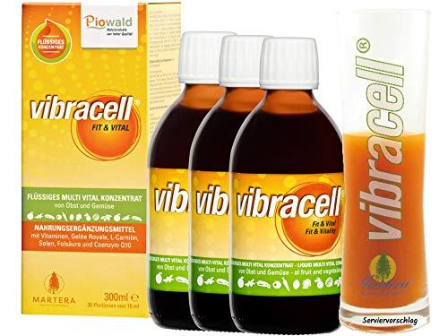Vibracell® Sparpack (3x 300ml) + Glas | Flüssiges Multi Vital Konzentrat mit Obst und Gemüse