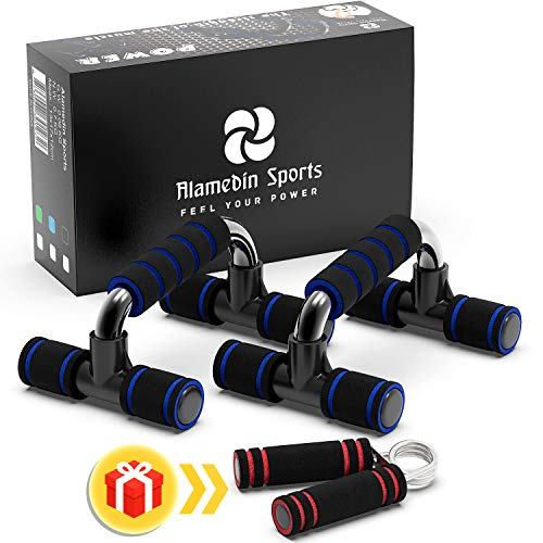 Alamedin Sports 2-in-1 Push Up Bars with Hand Grip - Home Gym Workout Equipment - Push Up Handle with Non-Slip Sturdy Structure and Free Premium Hand Strengthener with Soft Foam Handle.
