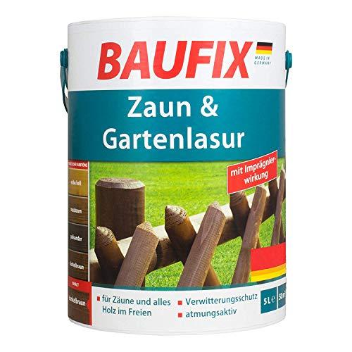 Baufix Zaun & Gartenlasur Zaunlasur Gartenlasur Dunkelbraun Teak Ebenholz Nussbaum Palisander (Eiche Hell)