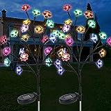 Paquete de 2 Lámpara Solar para Jardín, Vegena Luces Solares de Jardín LED Lámparas de Decoración Exterior para Jardín, Camino Terraza Backyard Fiesta de Navidad