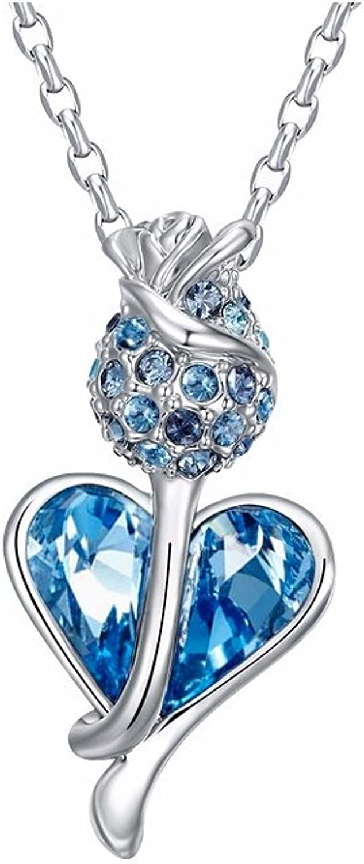 bluee Flower Swarovski Crystal Element Pendant CRY E784 J  bluee Pearls