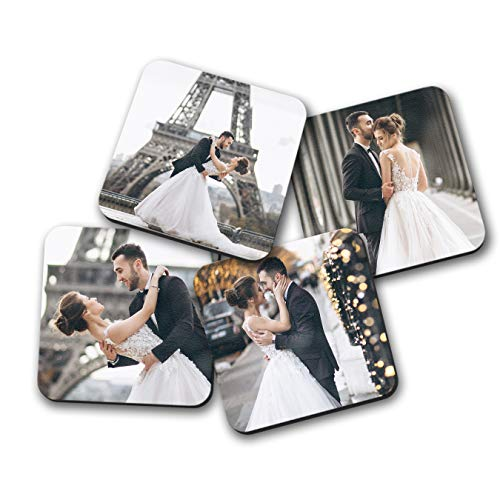Smile Art Design Upload 2 Images Custom Coaster Print with Your Photos 2 Piece Set Hardboard Cork Back Personalized Photo Collage Picture Photo Prints Personalized Gifts Wedding Gift Decorations