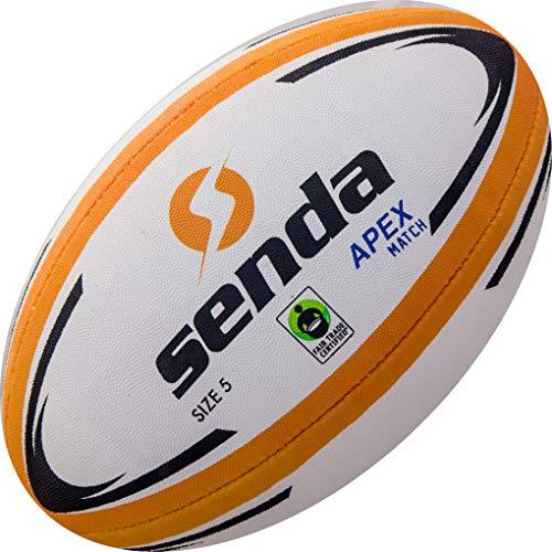 SENDA Apex Match Balón de Rugby, Certificado de Comercio Justo, Naranja/Blanco, Talla 5 (Edades 15 y Superior)