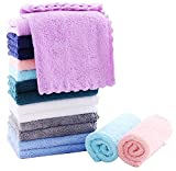 SWEET DOLPHIN 16 Pack Soft Kitchen Dishcloths - 0% Shed Lint - No Odor Reusable Dish Towels, Premium Dish Cloths, Absorbent Coral Fleece Cleaning Wipes, No Water Mark (Square 10 x 10 inchs)