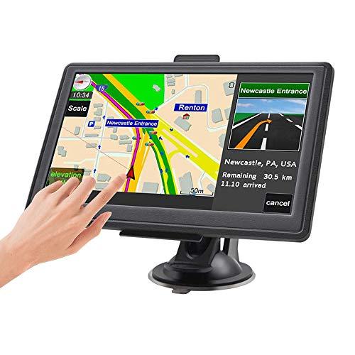 GPS Navigatore Satellitare, 5 Pollici Touchscreen Aggiornamenti Gratuiti delle mappe a vita Ultime Mappe EU include Codici Postali, Avvisi Autovelox e Assistenza di Corsia POI per Auto Camion
