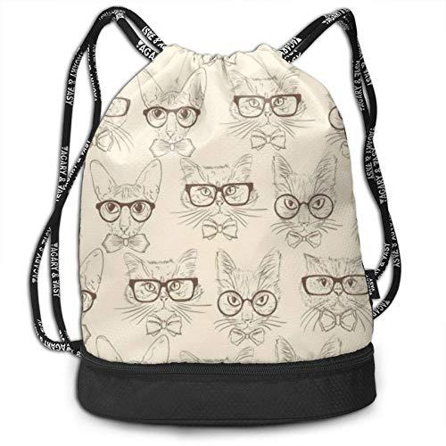 XCNGG Cat Hipsters Wear Gafas Mochila con cordón Paquete Multifuncional Mochila Mochila con Compartimento con Cremallera Bolsa de Hilo para Hombres Mujeres Adolescentes Natación Deportes Gimnasio