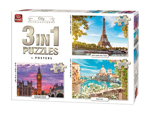 King International 55876 puzzel 3 in 1, 2 x 1000 en 1 x 500 delen, City inclusief posters, Multi
