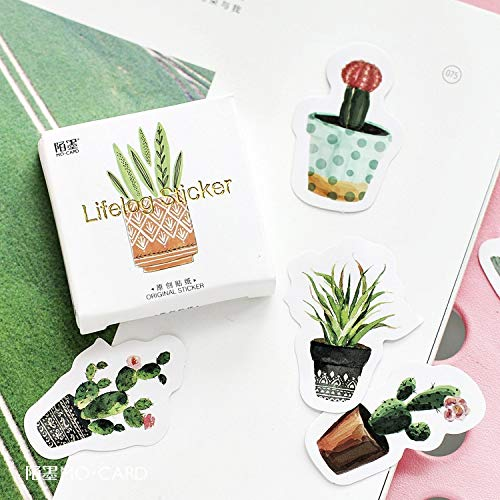 XinXinFeiEr Pegatinas de etiquetas de plantas verdes cultivadas transparentes, 45 unidades por paquete, para manualidades, álbumes de recortes, álbumes de recortes, etiquetas para manualidades