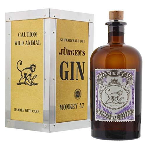 Monkey 47 Gin aus dem Schwarzwald in Überseekiste mit persönlicher Laser-Gravur als cooles Party-Geschenk