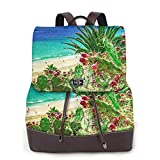 SGSKJ Mochila de Cuero Mujer Bolso Playa de la isla de Fuerteventura Estudiante Casual Bolsa La Universidad Bolsa de Viaje de Cuero Mochila Mujer