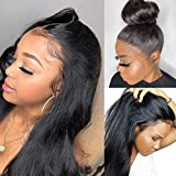 360 Lace Frontal Wig Silky Straight Glueless Virgin Brazilian Human Hair Lace Wigs for Black Women with Baby Hair Pre Plucked Hairline, Can Do Buns, Natural Black 10 Inch