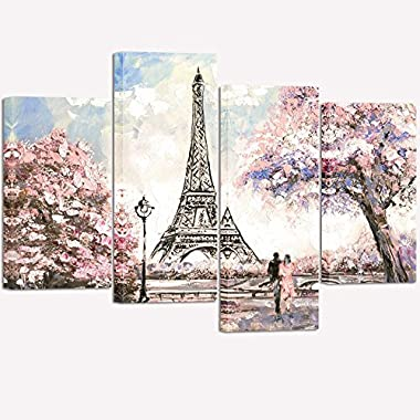 Visual Art Decor Couple on Fancy Pink and Purple Blossoming Paris Street Eiffel Tower Scenery Painting Picture Printed on Canvas Stretched Ready to Hang Home Wall Art Decoration (02 Pink)
