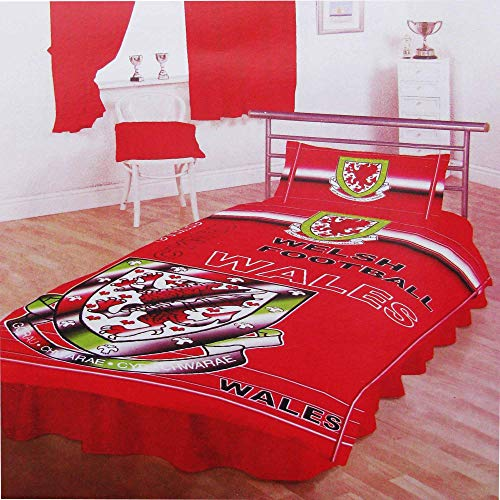 Wales FA Official Football Crest Single Duvet Cover Set With Pillowcase (Poly/Cotton)