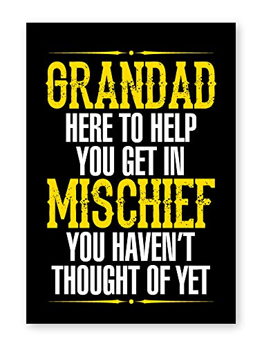 Grandad Mischief Framed Fishing Print Home Decor Wall Art Man Cave Shed Gift A4 Frameless