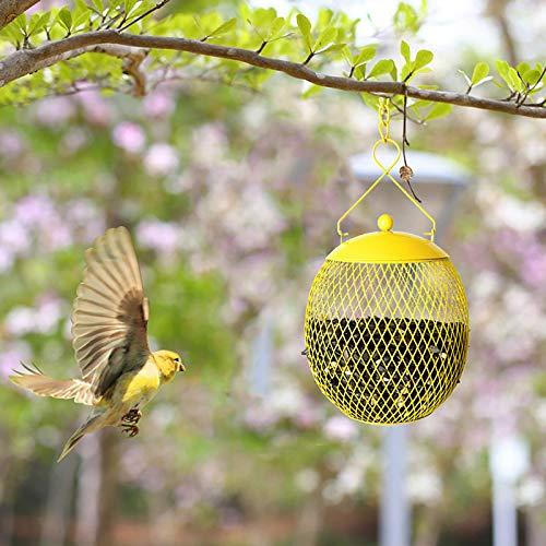 Sasaly 1PCS Courtyard Bird Feeder Garden Villa Squirrel Hanging Wild Bird Feeders Metal Birdfeeder For Outdoor House Garden Yard Decoration(A-Yellow,1pc)