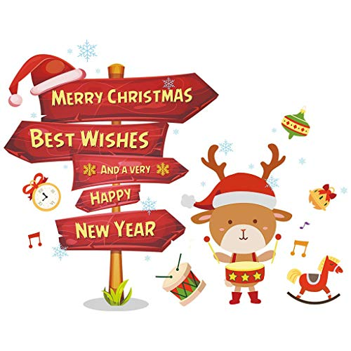 XXYsm Weihnachtssticker Weihnachtsmann, Rentier, Fensteraufkleber Wandaufkleber Abnehmbare Schaufensterdekoration Weihnachtsdeko