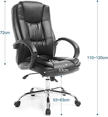 Executive Office Chair Computer Home Boss Desk Chair Deluxe PU Leather Swivel Adjustable Height Padded Armrest Black