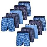 ROYALZ Boxershorts American für Herren 10er Pack Männer Jungen Unterhosen Kariert Blau klassisch 10 Set Unterwäsche, Farbe:Set 021 (10er Pack - Mehrfarbig), Größe:L
