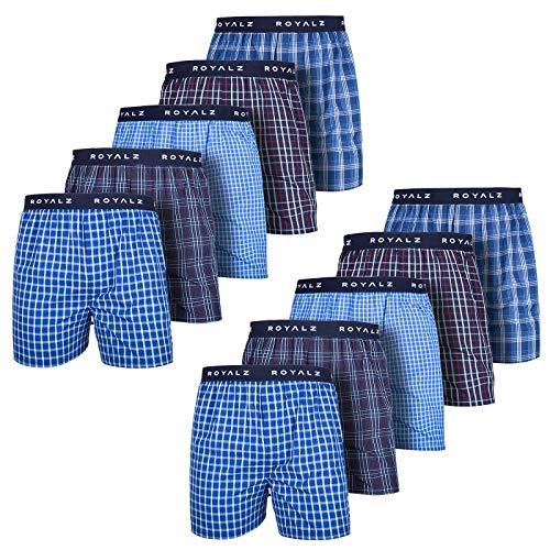 ROYALZ Boxershorts American für Herren 10er Pack Männer Jungen Unterhosen Kariert Blau klassisch 10 Set Unterwäsche, Farbe:Set 021 (10er Pack - Mehrfarbig), Größe:M