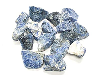 """Zentron Crystal Collection: Natural Rough Sodalite Stones with Velvet Bag - Large 1"""" Pieces (1/2 Pound)"""