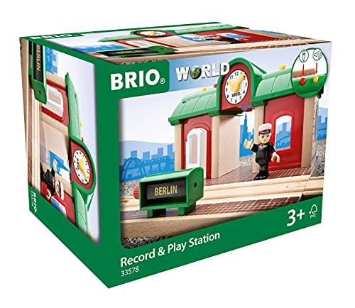BRIO World 33578 Sprechender Bahnhof – BRIO Eisenbahn Zubehör mit Aufnahmefunktion – Kleinkinderspielzeug empfohlen ab 3 Jahren