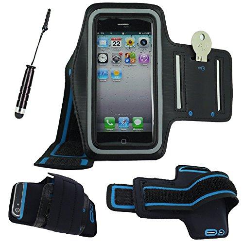 ebestStar - Fascia Braccio Sportiva Compatibile con iPhone SE 5S 5 Cover Sweatproof Bracciale, Armband Supporto Chiave Corsa Jogging Palestra +Mini Penna, Nero [Apparecchio: 123.8x58.6x7.6mm, 4.0'']
