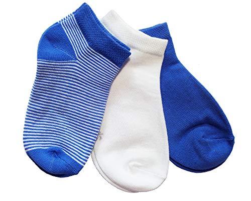 Weri Spezials Sneaker Socken 3er Pack fur Jungen & Mädchen aus kbA Baumwolle, Größen von 19-22 bis 25-38, 3 Paar Set in 3 Farben (31-34, Blau)