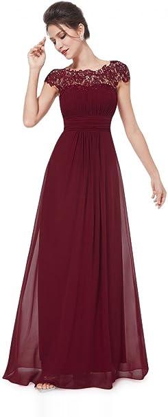 Vip Dress Edles Langes Spitze Abendkleid In Bordeaux Rot Grosse 44 Amazon De Bekleidung