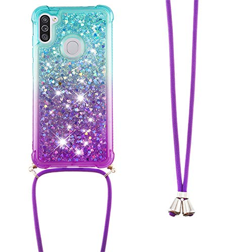 IMEIKONST Glitzer Handyhülle für Samsung Galayx M11 Hülle, Quicksand Fließende Flüssigkeit schwimmt Silikon Case mit Umhängeband Handykordel Band Kette für Samsung Galayx A11 Blue Purple YB
