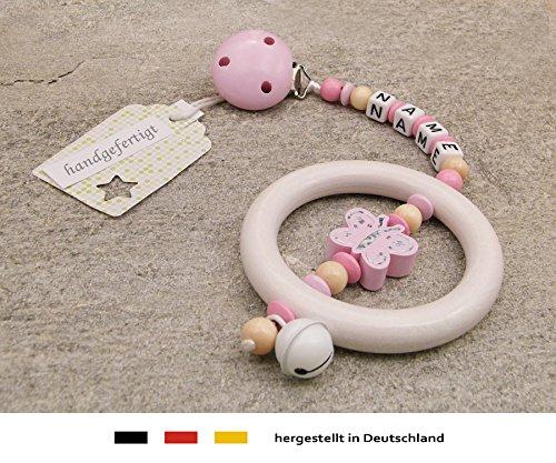 Baby Kinderwagen Anhänger mit NAMEN - Kinderwagenkette mit Wunschnamen - Mädchen Motiv Glitzer Schmetterling in rosa