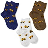 Jefferies Socks baby boys Construction Triple Treat (Pack of 3) infant and toddler socks, Putty, 12-24 Months US