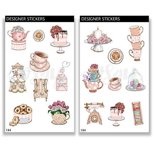 Deko Aufkleber - handgezeichnet - Thema Tea Time Shabby Chic - Bullet Journal Stickers - Stationary Set 184