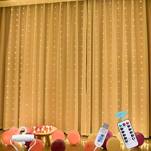 TEPENAR Luces de cortina LED con ganchos: 300 luces LED de 3 x 3 m, 8 modos de luz, funciona con USB, mando a distancia, cadena de luces para dormitorio, jardín, fiesta, boda, decoración de Navidad