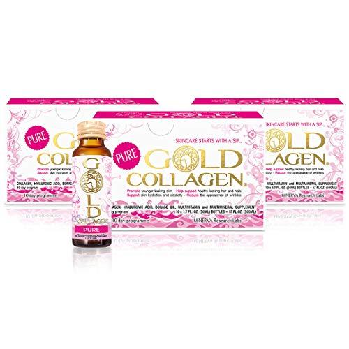 GOLD COLLAGEN® Pure | Complemento de colágeno líquido | Colágeno marino hidrolizado con ácido hialurónico, aceite de borraja, vitaminas y aminoácidos para piel, cabello y uñas | 30 Días