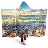 Manta con capucha – Sea On The Boards – Manta de forro polar con capucha, súper suave y cálida manta de 60 x 50 pulgadas
