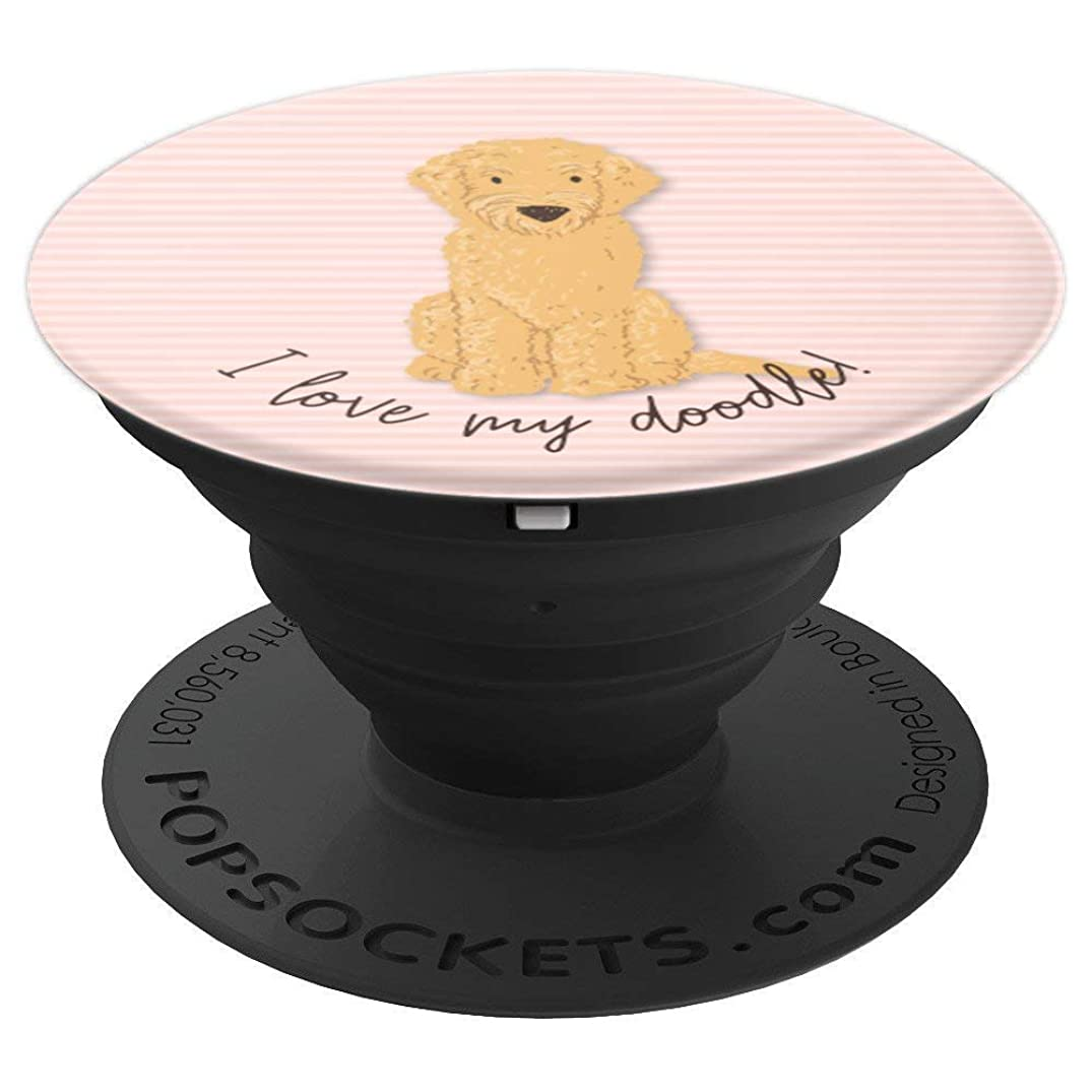 I Love My Doodle with Pink Stripes - PopSockets Grip and Stand for Phones and Tablets
