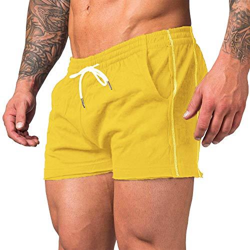 URRU Men's Athletic Premium Track Short Pants-Gym Workout Training Shorts Yellow M