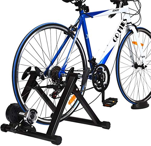 YZPJSQ Bike Trainer Stand, Indoor Magnetic Exercise Bicycle Trainers with 8 Levels Resistance, Fluid Flywheel, Double Locking System, Folding Cycling Training Stand for 26'' - 28'' Wheels