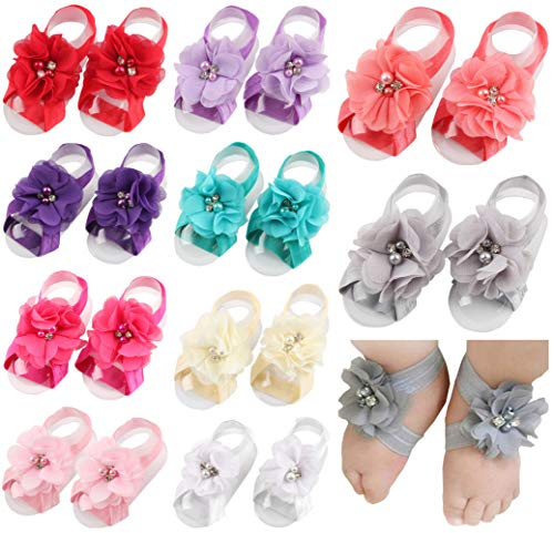 Toptim Baby Girls Barefoot Sandals Flower for Toddlers (Mix 10 Colors)