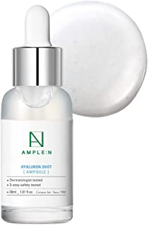 [AMPLE:N] Hyaluron Shot Ampoule 1.01 fl. oz. (30ml) - Hyaluronic Acid & Xylitol Complex Contained, Powerful Hydrating Skin Care Ampoule for Dry and Rough Skin