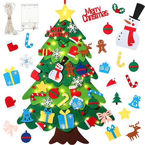 3.2 Feet Kids DIY Felt Christmas Tree Setwith 39 Pieces Ornaments and 50 LEDs String Lights Wall Hanging Detachable Ornaments Xmas Presents Children Friendly Christmas Home Decorations