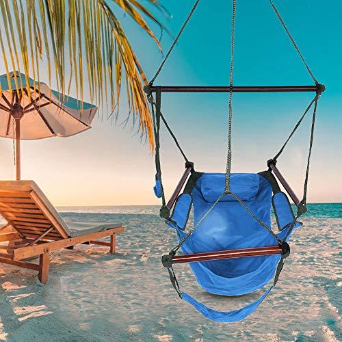 Hamaca de sillón, silla colgante, silla mecedora de tela de tela de tela colgante en silla de jardín colgante con cojines divertidos, silla mecedora Hamaca para interior/exterior (azul)