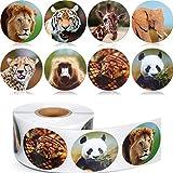 Chinco 500 Stücke Tier Aufkleber Zoo Tier Rolle Aufkleber 1 1/ 2 Zoll Selbstklebende Label Tierform Wandtattoos für Kinder Party Gefälligkeiten, 8 Stile