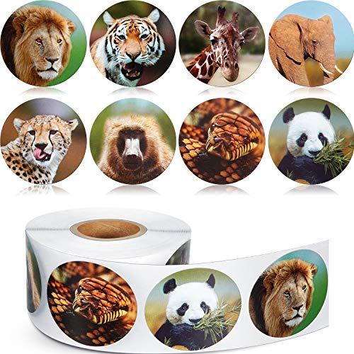 Chinco 500 Stücke Tier Aufkleber Zoo Tier Rolle Aufkleber 1-1/ 2 Zoll Selbstklebende Label Tierform Wandtattoos für Kinder Party Gefälligkeiten, 8 Stile