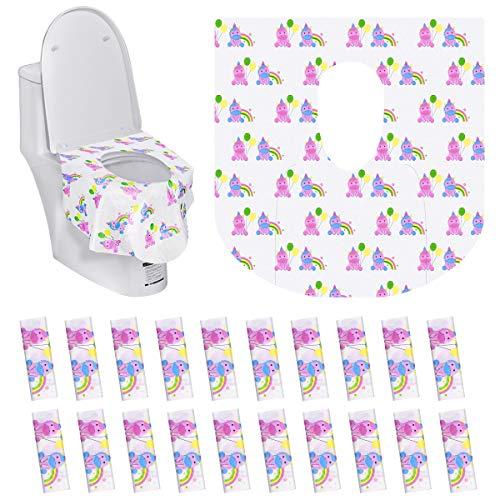 TankerStreet 20 Piezas Asiento de Inodoro Desechable Tela No Tejida Modo Unicornio Desechable WC para Baño Antibacteriano Portátil Protector Desechables Papel para Niños, Adultos (63x66cm)