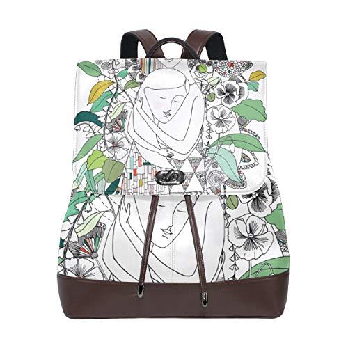 """Lupinz Rucksack mit Aufdruck """"Mother's Hug"""", aus strapazierfähigem Leder"""