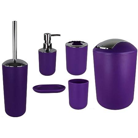 Jeu de 6accessoires de salle de bain Dont distributeur de savon, brosse de WC et porte-brosse Lila Design 2