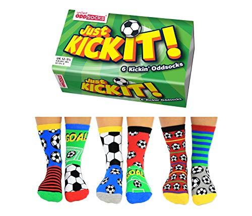United Oddsocks, Scatola con 6 calzini spaiati per ragazzi Kick It, multicolore, taglie: 30,5-39