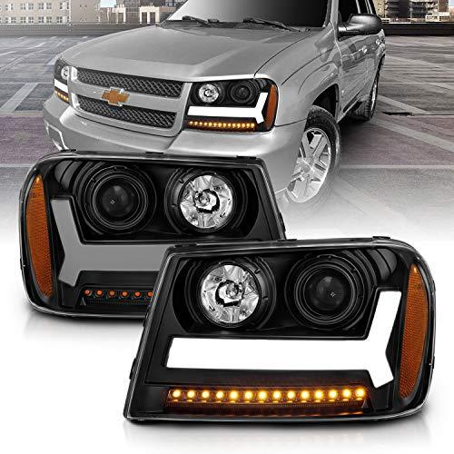 AmeriLite for 2006-2009 Chevy Trailblazer LT Models Plank LED Tube Projector Black Headlights Pair - Passenger and Driver Side